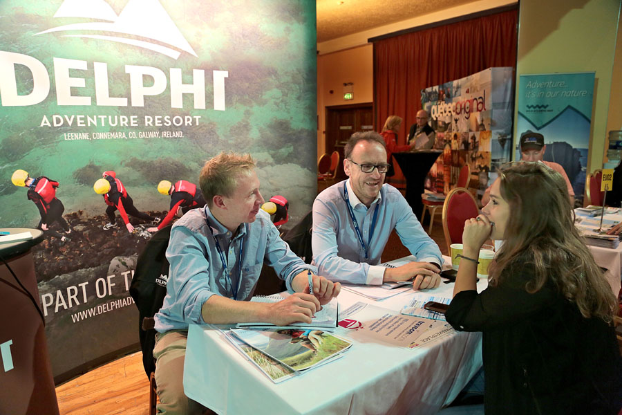 At The Adventure World Travel Summit workshops at The Killarney Convention Centre this week, were David O'Loughlin and Douglas Whitaker, Delphi Adventure Resort with Chloe Bolger, Connemara WIld Escapes, over 700 Delegates from all over the globe are attending the summit.Photo:Valerie O'Sullivan/NO REPRO FEE